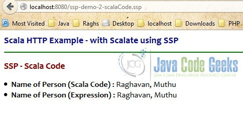 SSP Invoking Scala Code - Output