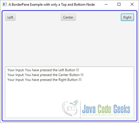 A JavaFX BorderPane Example with only a Top and Bottom Node