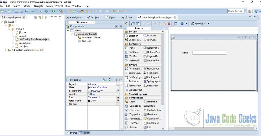 JAVA Swing Form Example   Examples Java Code Geeks - 2018