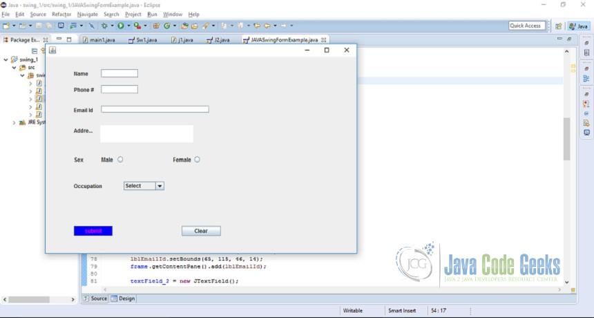 Java Swing Form Example Examples Java Code Geeks 2019