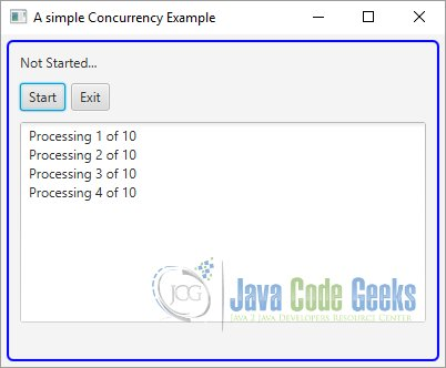 A simple JavaFX Concurrency Example