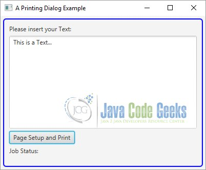 Definition Of The Page Setup With JavaFX Print API