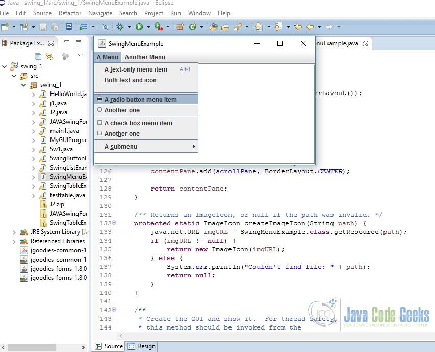 JAVA Swing Menu Example | Examples Java Code Geeks - 2019