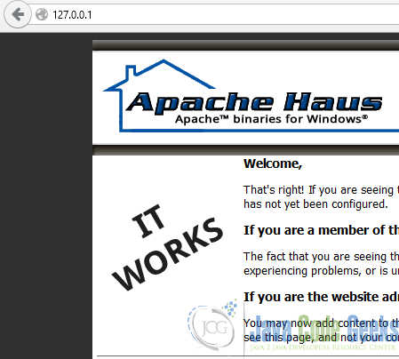 7 Apache httpd server welcome screen