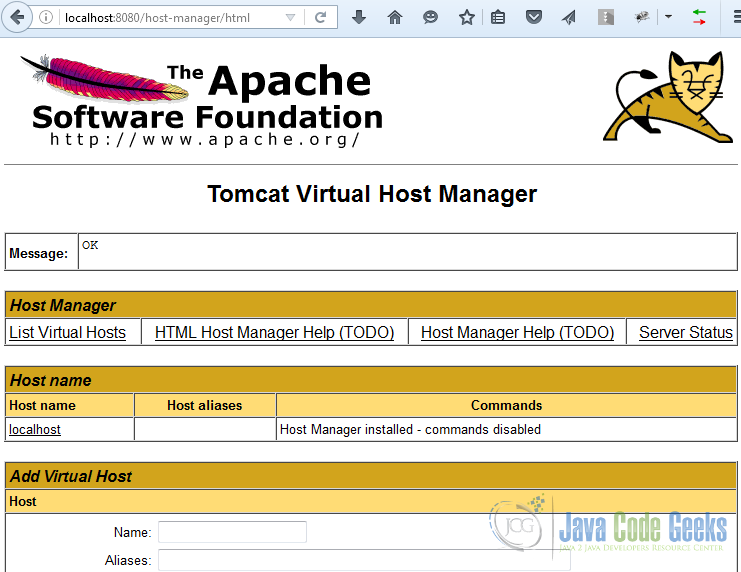 Apache Tomcat Manager Tutorial | Examples Java Code Geeks - 2019