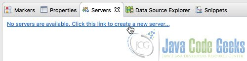Create New Server Link in Servers Tab of Eclipse