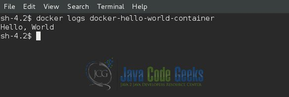 Check the Docker Container Logs to Check if Hello world was Printed