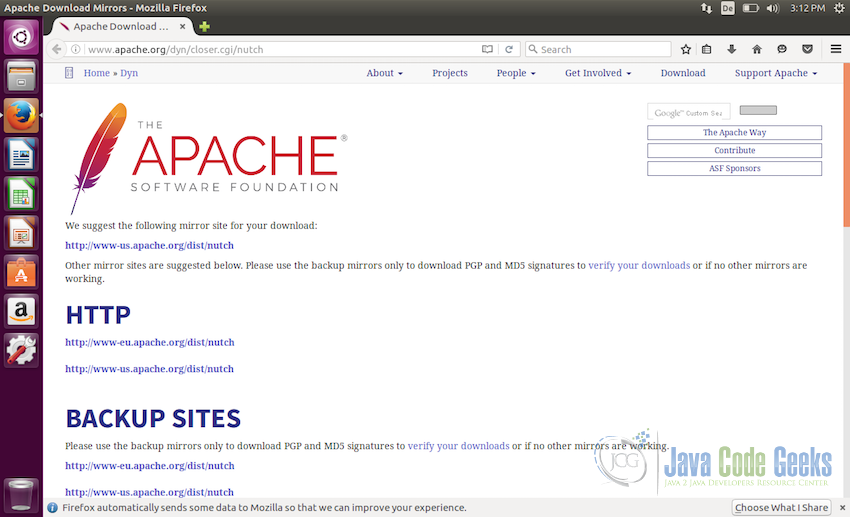 Downloading Apache Nutch