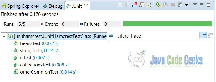 JUnit Hamcrest Example Output