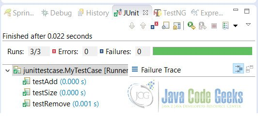 JUnit Testcase Example Output