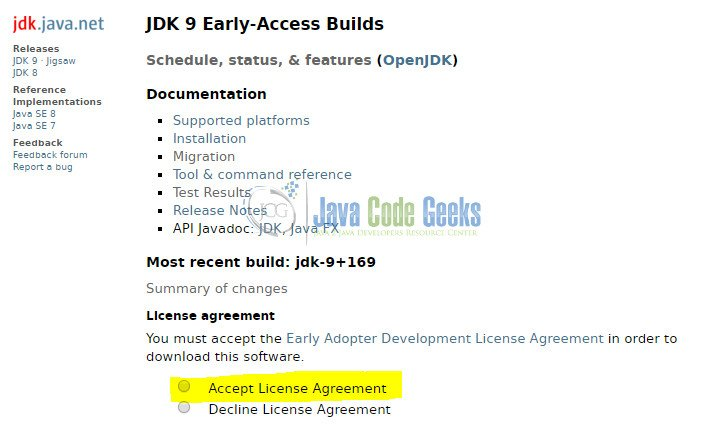 Downloading JDK and accepting license agreement