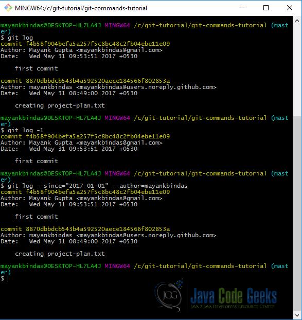 Git Commands Tutorial | Examples Java Code Geeks - 2019