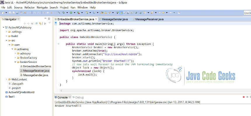 Apache ActiveMQ BrokerService Example | Examples Java Code