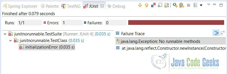 JUnit No Runnable Methods Error Output