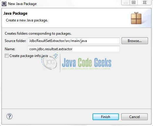 Fig. 7: Java Package Name (com.jdbc.resultset.extractor)