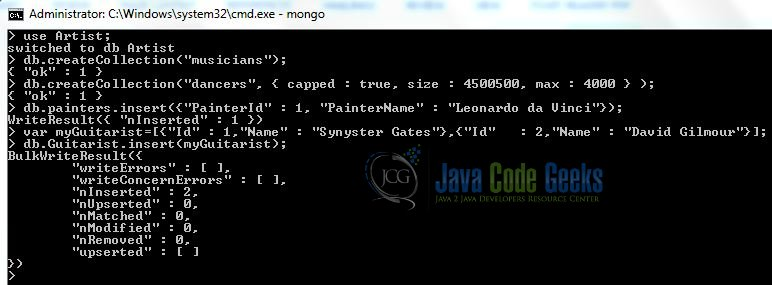 Fig. 10: MongoDB Create Collection Using Array Output