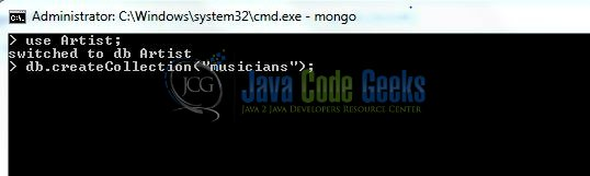 Fig. 3: MongoDB Create Collection Command