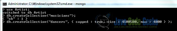 Fig. 5: MongoDB Creation Collection with Options Command