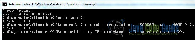 Fig. 7: MongoDB Create Collection Using Insert Command