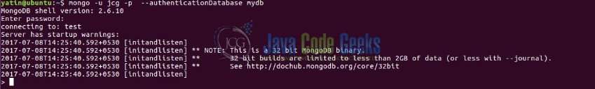 Fig. 10: MongoDB Test User Authentication Output