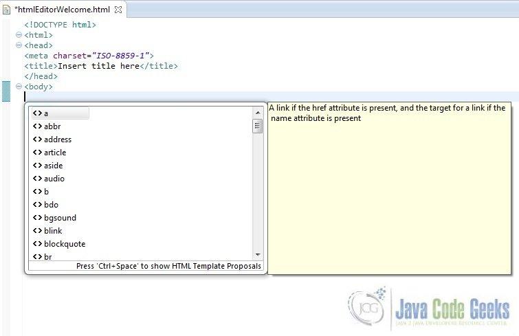 Eclipse html plugin example examples java code geeks 2018 19 html editor content assist i maxwellsz