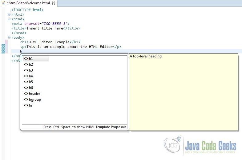 Eclipse Html Plugin Example Examples Java Code Geeks 2019