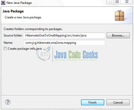 Fig. 9: Java Package Name (com.jcg.hibernate.one2one.mapping)