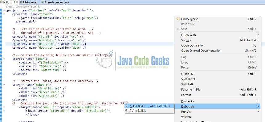 Apache Ant Java Debug Example | Examples Java Code Geeks - 2019