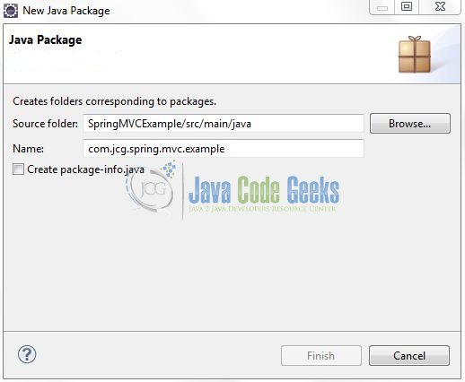 Fig. 9: Java Package Name (com.jcg.spring.mvc.example)