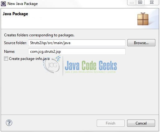 Fig. 8: Java Package Name (com.jcg.struts2.jsp)