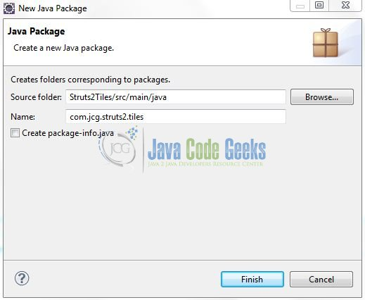 Fig. 9: Java Package Name (com.jcg.struts2.tiles)