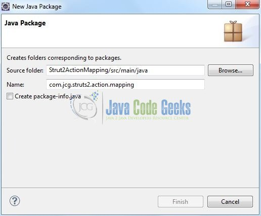 Fig. 9: Java Package Name (com.jcg.struts2.action.mapping)