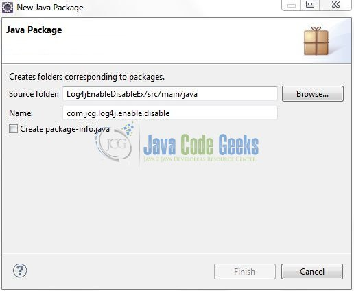 Fig. 9: Java Package Name (com.jcg.log4j.enable.disable)