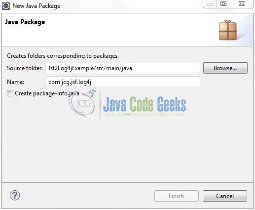Fig. 9: Java Package Name (com.jcg.jsf.log4j)
