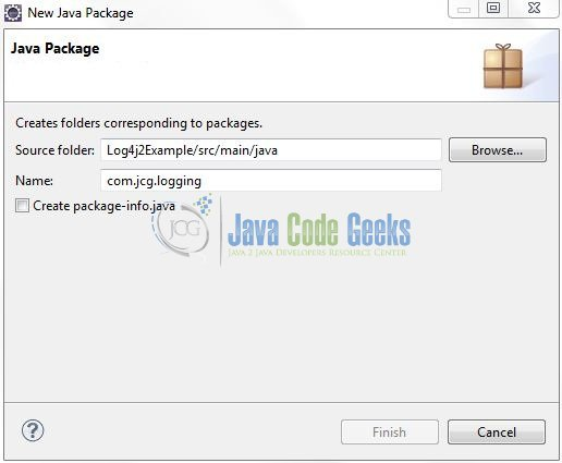 Fig. 8: Java Package Name (com.jcg.logging)