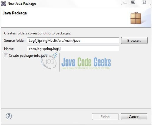 Fig. 10: Java Package Name (com.jcg.spring.log4j)
