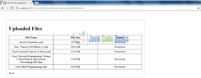 Java Servlet File Download and File Upload Example