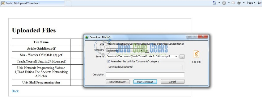 Java Servlet File Download and File Upload Example | Examples Java