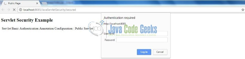 Fig. 13: Secured Servlet – Login Prompt
