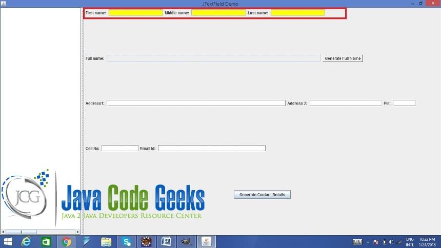 Java Swing JTextField Example   Examples Java Code Geeks - 2019