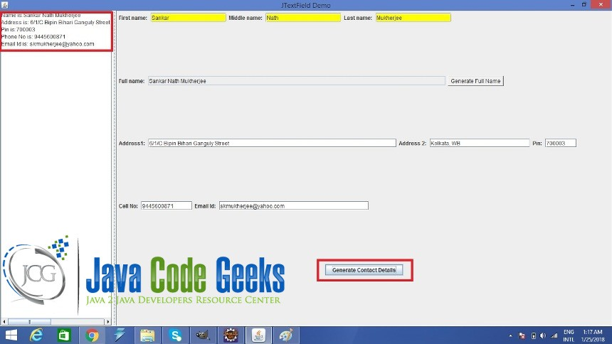 Java Swing JTextField Example | Examples Java Code Geeks - 2019