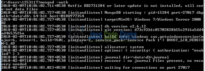 Fig. 4: Restart MongoDB in secure mode
