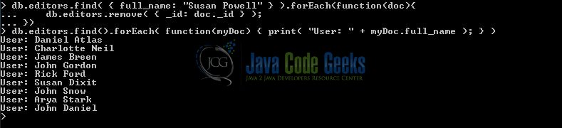 MongoDB forEach() Example | Examples Java Code Geeks - 2019