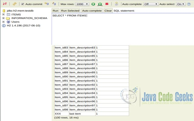 Spring integration database polling example examples java code h2 console output showing table rows after application is first run urtaz Gallery