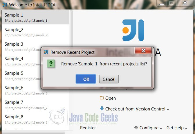 IntelliJ IDEA Remove Project - Confirmation dialog for removing the project
