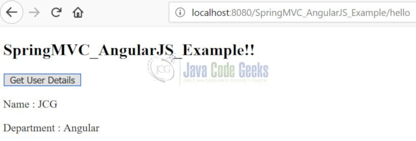 Spring MVC 4 AngularJS - Get User Details button