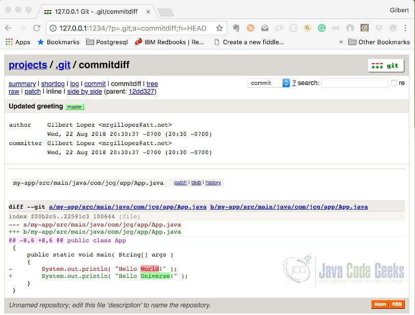 Git Instaweb - Commit View Updated
