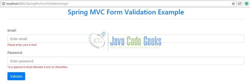 Spring MVC Form Validation - Validation error messages