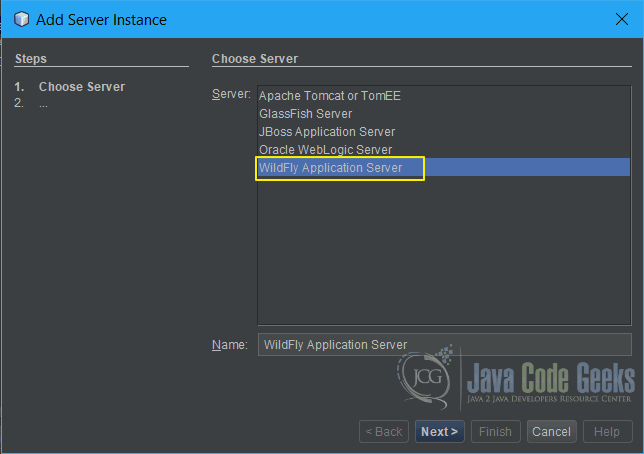 JBoss WildFly NetBeans - Choose Server