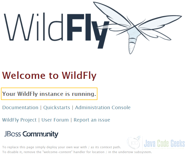 JBoss WildFly NetBeans - WildFly Welcome Page